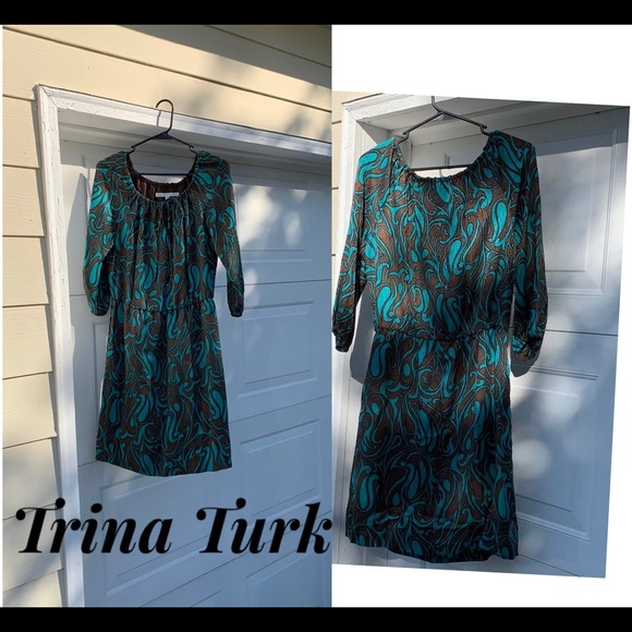 Trina Turk Dresses & Skirts - Trina Turk Blue/Brown Silk Print Dress Size 4